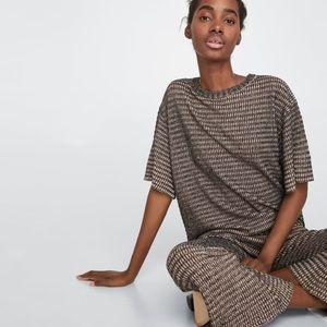 Zara Checked textured Weave knitwear